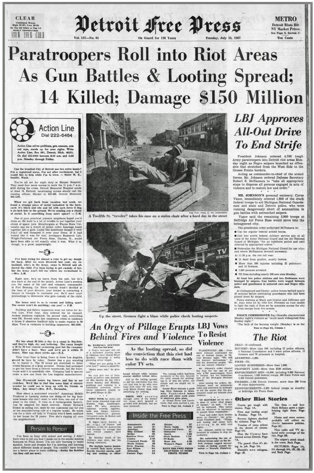THE DETROIT FREE PRESS: Tuesday, July 25, 1967 (click on image 2x for largest detailed read)