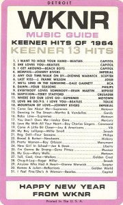 WKNR Flashback: WKNR Music Guide December 31, 1964 (click on image for larger view)