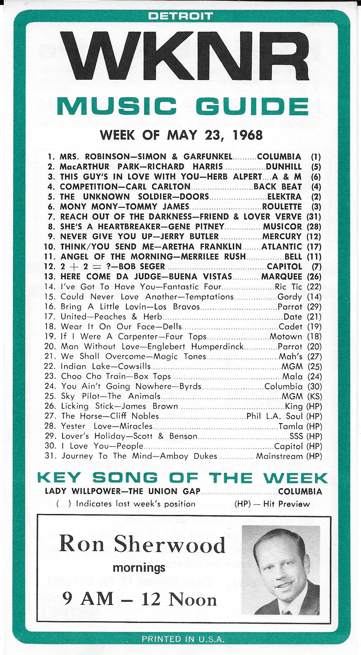 WKNR DETROIT TOP 31 KEENER HITS THIS WEEK IN 1968