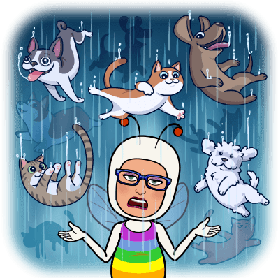 MC Fairy surrounded by raining cats and dogs.
