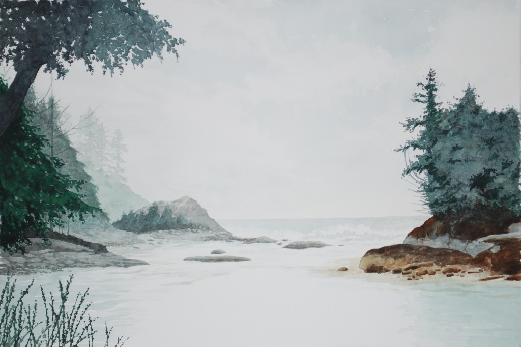 A water colour painting of a misty coastline by Keith Cains.