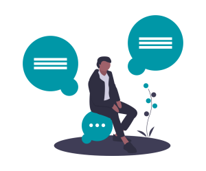 """A graphic of a man sitting on top of a bubble with an """"incoming chat"""" icon. He is surrounded by two other bubbles that contain """"text block"""" icons."""