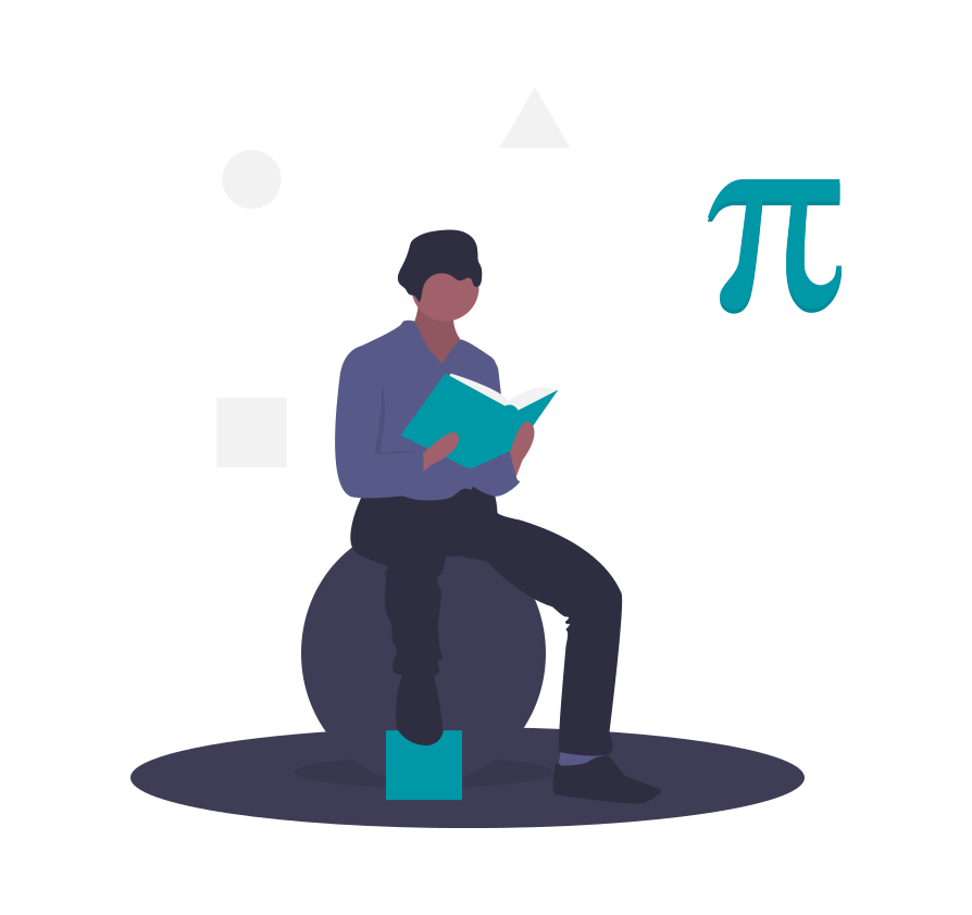 A graphic of a man sitting down and reading a book with the Pi symbol.