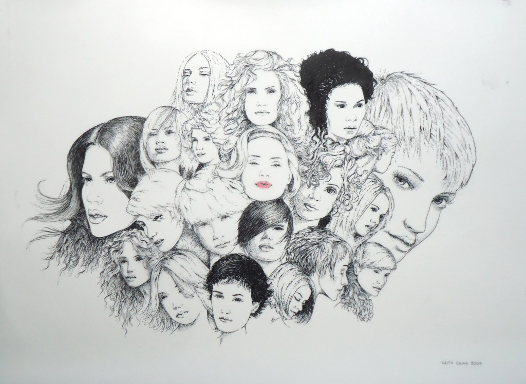 An ink on mylar drawing of numerous different woman's hairstyles by Keith Cains.