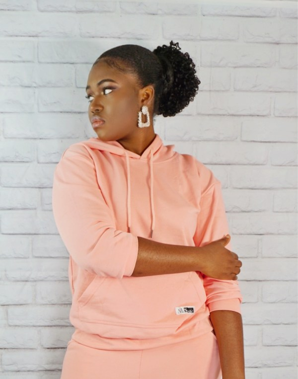 Drawstring hoodie and cropped Jogger Set