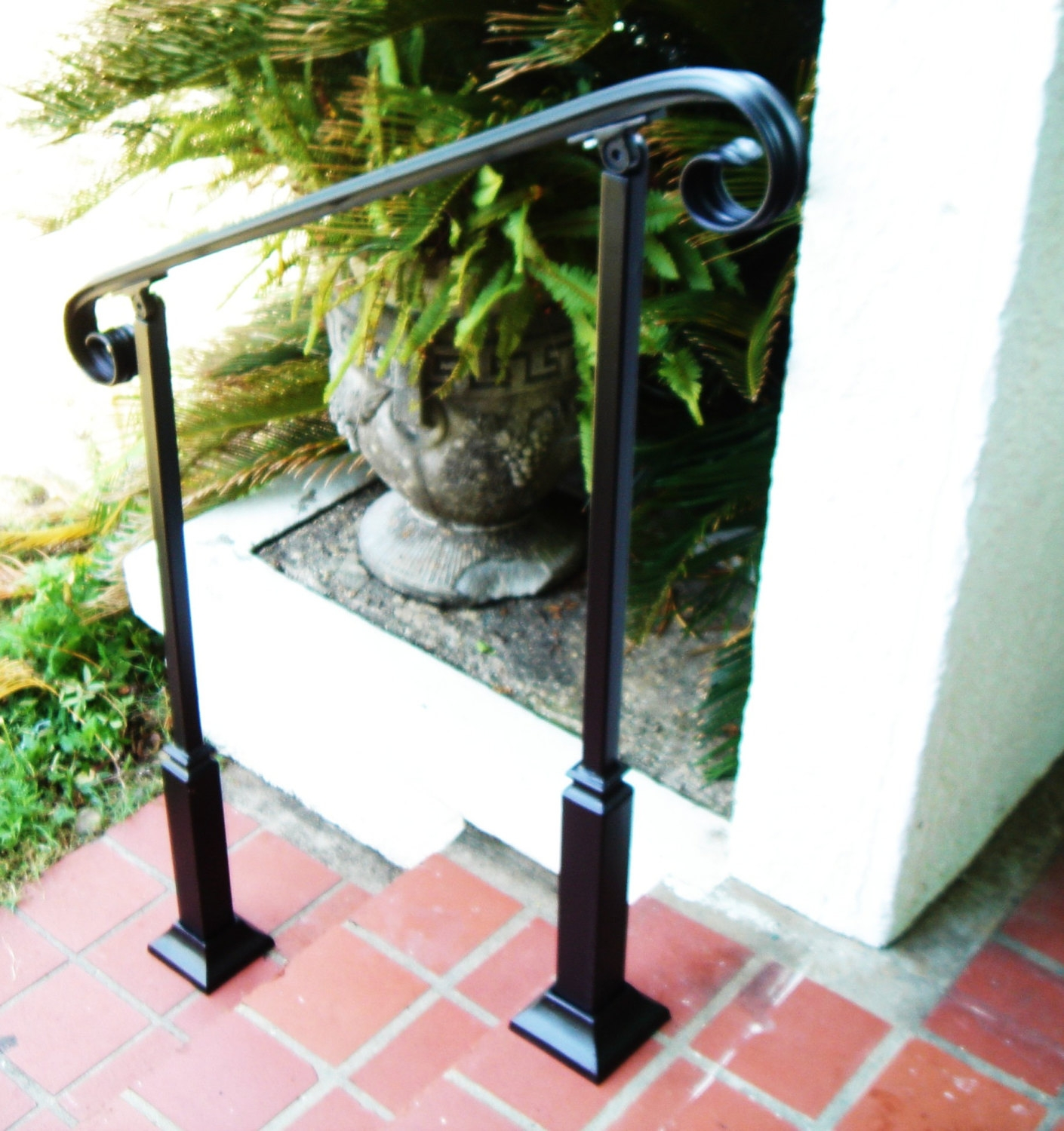 5 Ft Wrought Iron Stair Hand Rail 2 Decorative Posts | Iron Railings For Steps