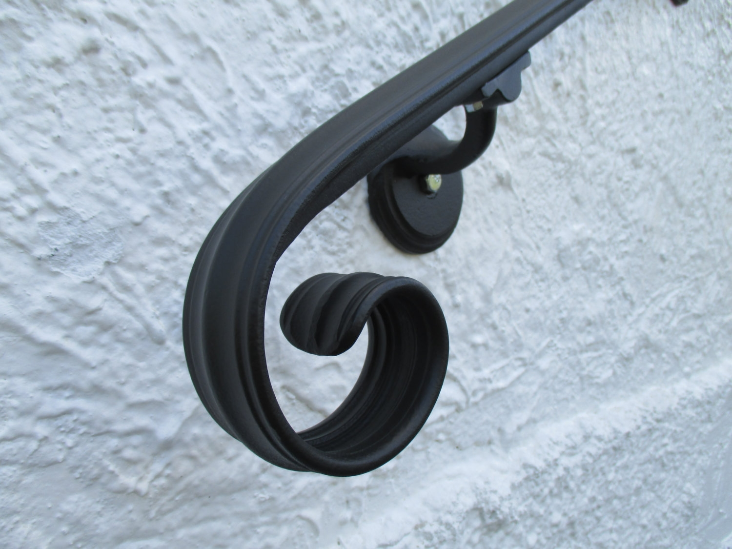 14 Ft Wrought Iron Wall Mount Hand Rail Elegant Scroll Design   Wall Mounted Handrail For Stairs   Stair Interior   Brushed Nickel   Thin Glass   Attached Wall   Mounting