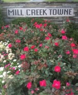 Miller Fall street entrance with roses.