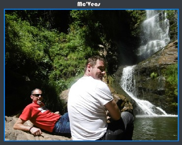 descansando en la cascada de Lumajo