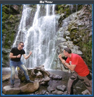 sylvain y Pin en Cascada de Xurbeo