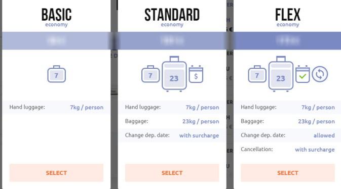 SkyUp Fares options