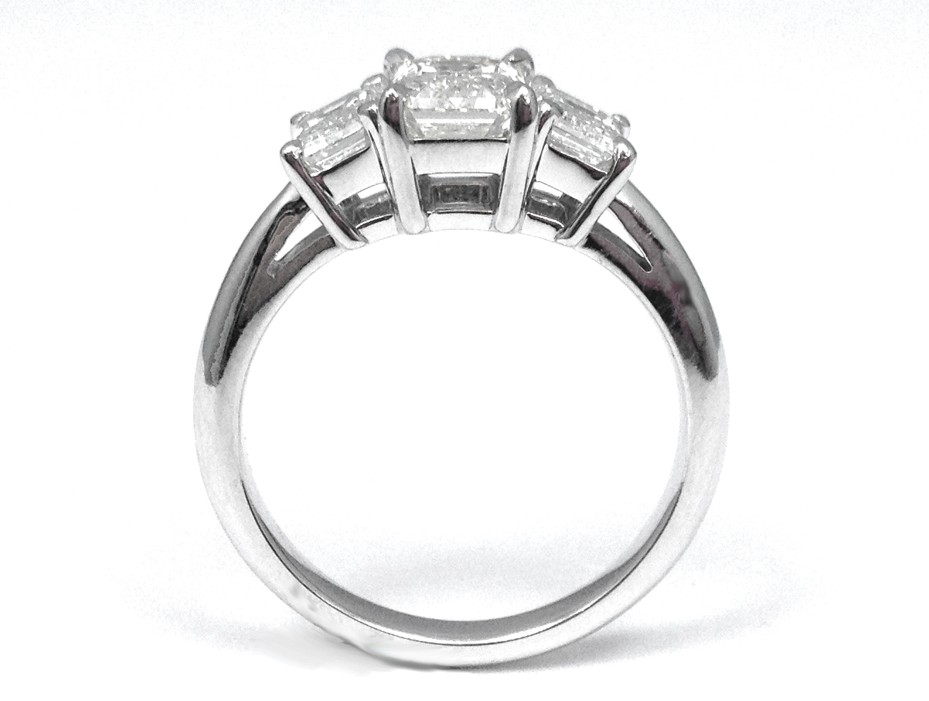 Engagement Ring 3 Stone Emerald Cut Diamond Engagement