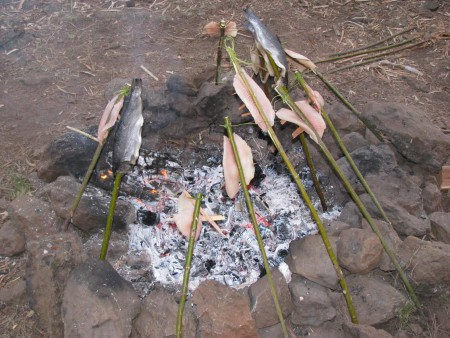 fish-on-open-fire-bushcraft-survival-skills-fishing