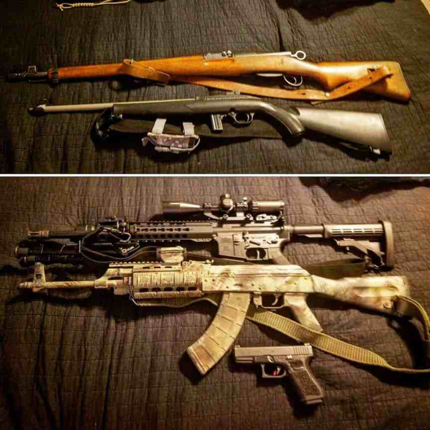 photo of two ar-15 rifles a bolt action and glock handgun
