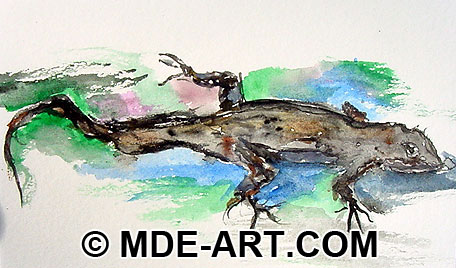 Watercolor Painting of a Lizard