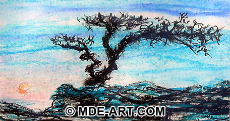 Charcoal Drawing of a Bonsai Tree and Sun