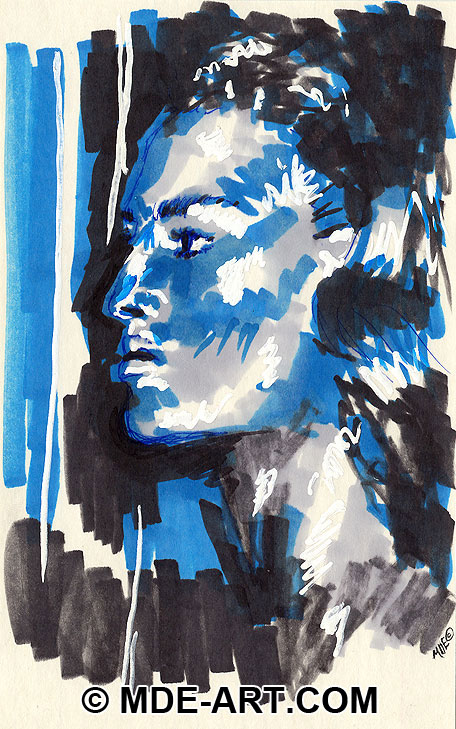 Colorful Abstract Marker Drawing of a Woman's Profile