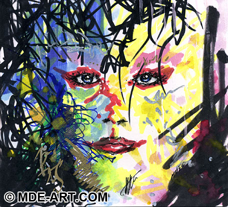 Colorful Abstract Expressionist Drawing of a Woman's Face
