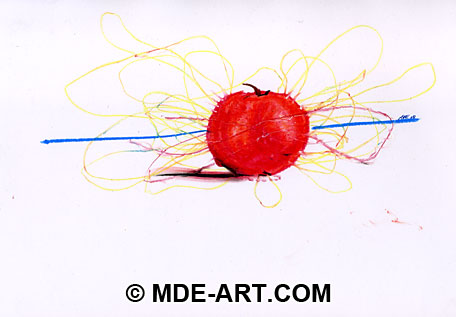 Oil Pastel Drawing of an Apple