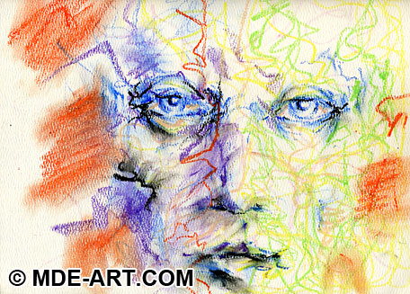 Abstract Impressionistic Portrait Drawing of a Face with Oil Pastels