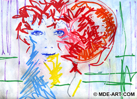 Expressive Abstract Painting and Drawing of a Blue Face with a Red Balloon Sketched with Watercolor and Paint Pen