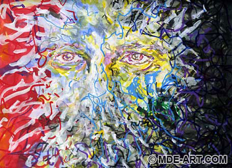 Abstract Drawing and Painting of the Face of Hope