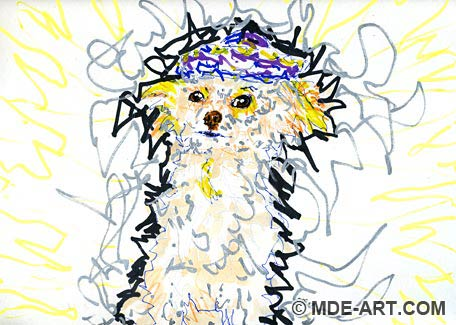Painting and Drawing of a Papillion Poodle Dog Wearing a Sombrero