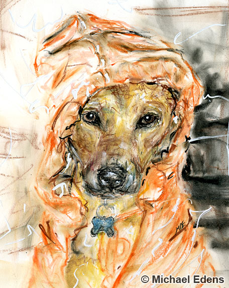 Drawing of a Dog in a Sweater with Oil Pastels