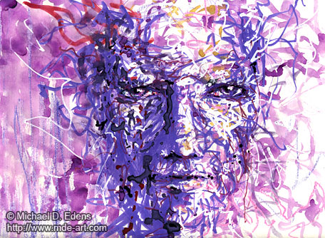 Purple 1 - Abstract Portraits and Faces - Sadness and Frustration Series