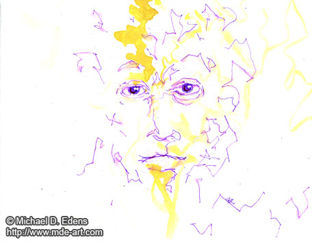 Painting and Drawing of an Abstract Demon Face 05