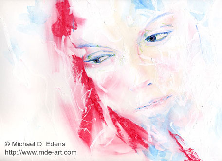 Red Woman Glare | Abstract Portrait Drawing
