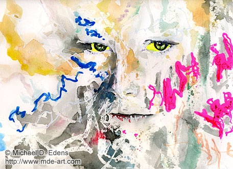 Yellow Eyes | Abstract Portrait Painting and Drawing of a Girl