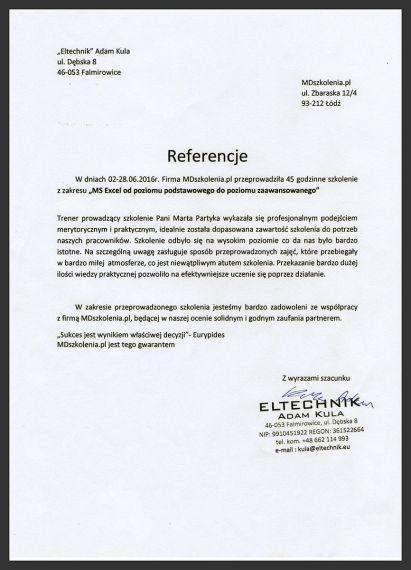 MDszkolenia.pl_Referencje_MS Excel od poziomu podstawowego do poziomu zaawansowanego