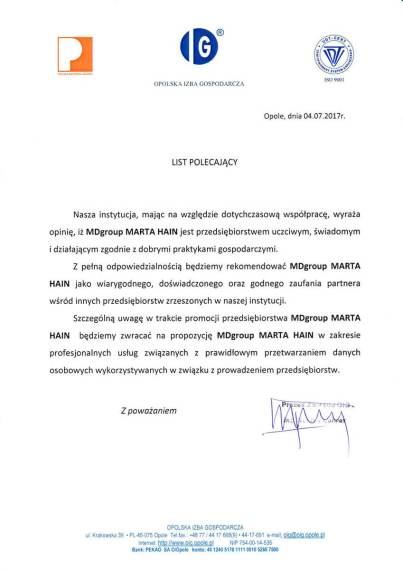MDszkolenia.pl_List polecający_Opinia partnera