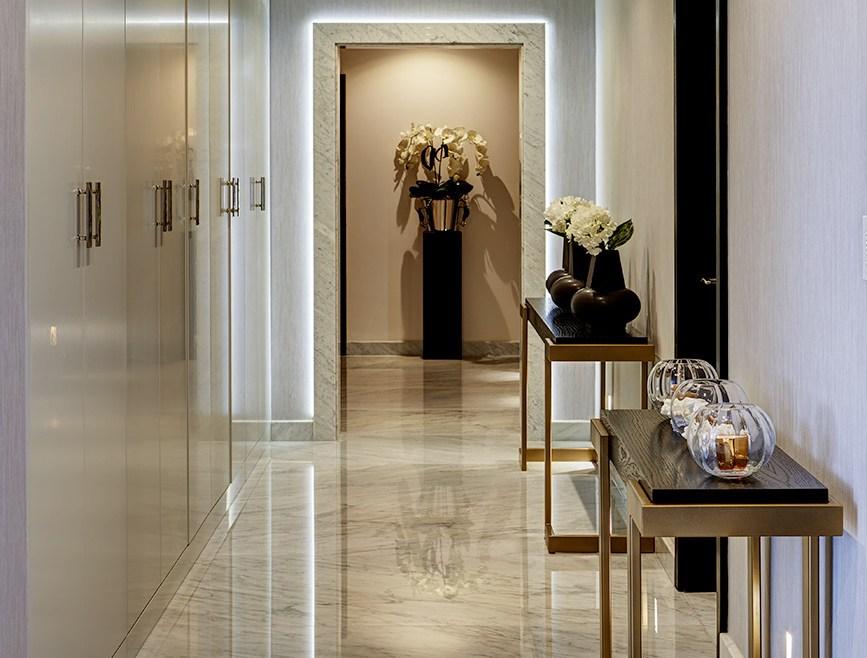 Luxury home hallway featuring smart lighting