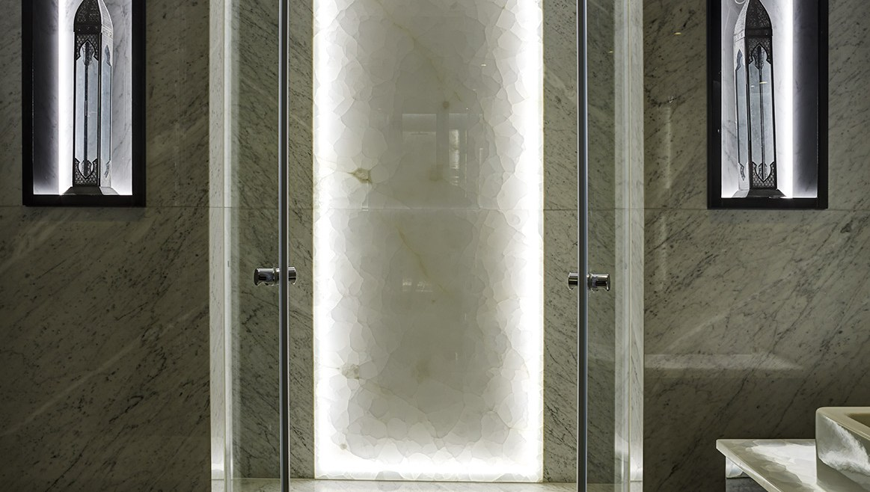 Shot of luxury shower featuring smart light technology
