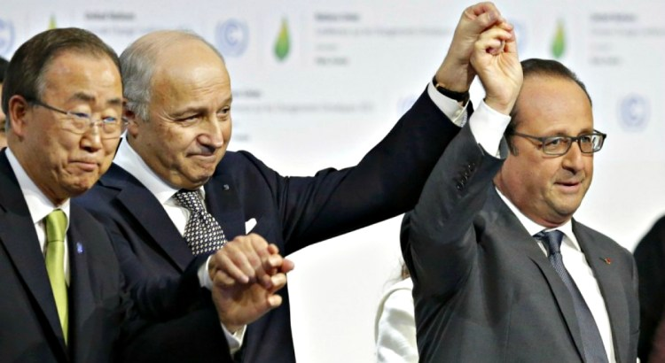 climate change accord reached by leaders in paris, france 2015