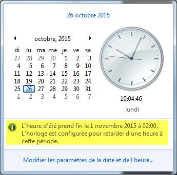 Changement de l'heure sous Windows 7