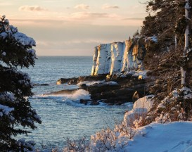 Winter Sunrise at Otter Cliffs by Mary Whetstone