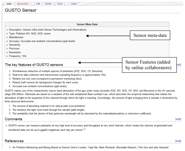 Figure 9. Wiki pages to record the sensor meta-data.