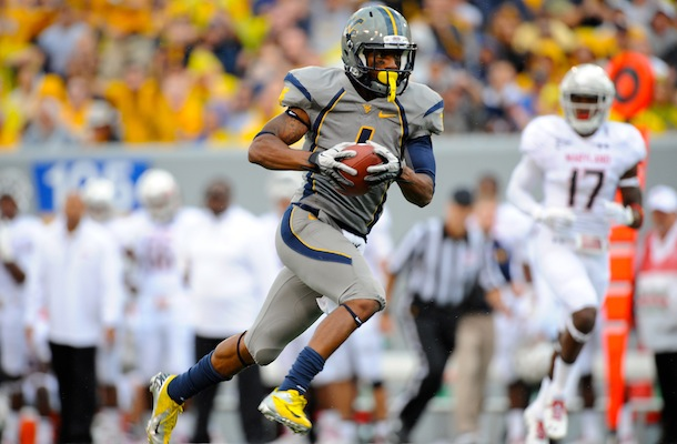 Tavon Austin, who starred at West Virginia University before joining the NFL, holds state records for  career touchdowns, points, offensive yards and rushing yards. [Photo courtesy WVU/Pete Emerson]