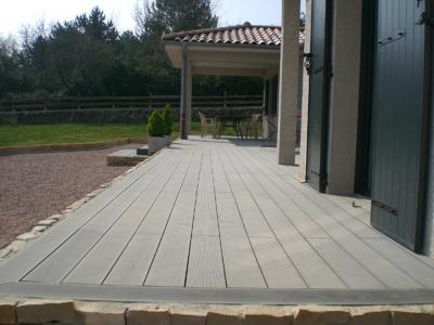 kit complet terrasse bois composite gris clair pro xtrem 26x140 mm
