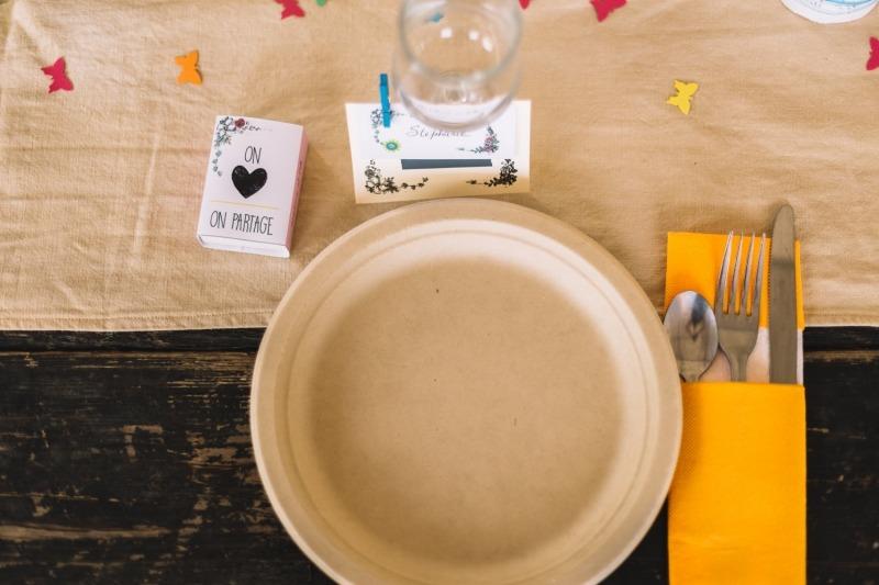 vaisselle jetable écologique mariage bio boite allumettes diy