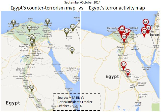 Egypt's state of terrorism and counter-terrorism. Sep 22 to Oct 21, 2014.