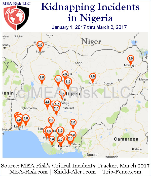 Kidnappings in Nigeria, Jan 1 thru March 2, 2017