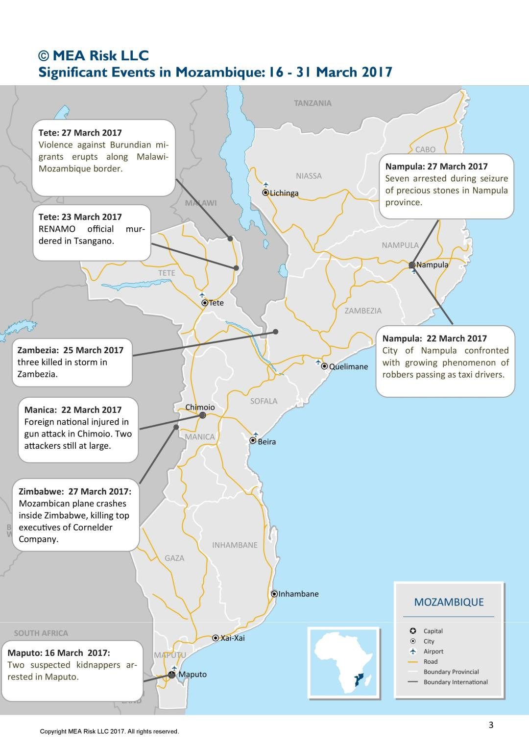 Mozambique's main incidents of 2HMarch 2017