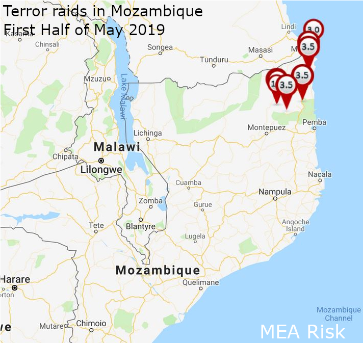 Terror attacks in Mozambique first half of May 2019