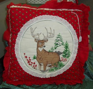 110-111. Two Embroidered Deer Pillows