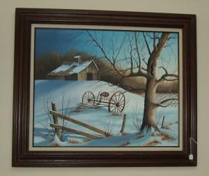 71. Winter Farm Scene Painting