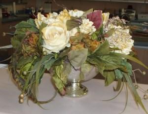 58. Rose Floral Arrangement in Silver Vase